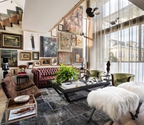 客厅混搭风格效果图大全2017图片_土拨鼠美好迷人客厅混搭风格装修设计效果图欣赏