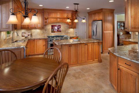 厨房美式风格效果图大全2017图片_土拨鼠清爽温馨厨房美式风格装修设计效果图欣赏