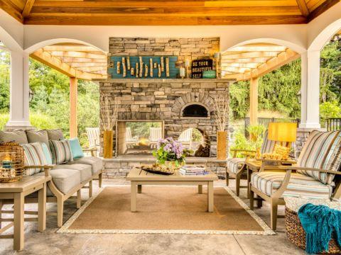 阳台沙发美式风格装潢设计图片