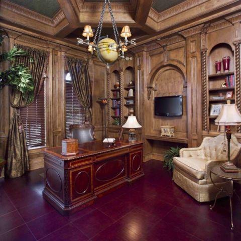 书房博古架地中海风格装修图片