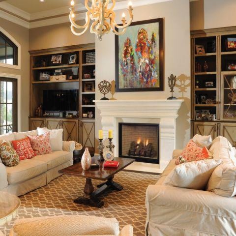 客厅美式风格效果图大全2017图片_土拨鼠温馨雅致客厅美式风格装修设计效果图欣赏