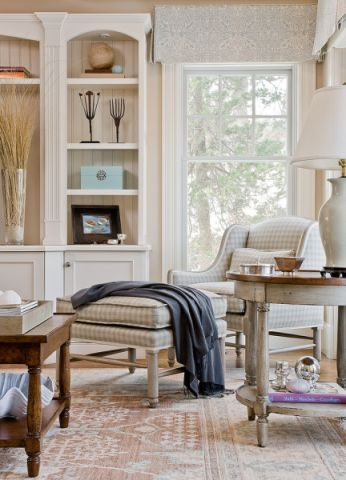 客厅博古架美式风格装饰设计图片