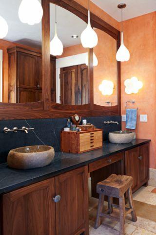 浴室咖啡色洗漱台混搭风格装饰图片
