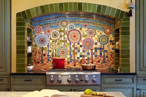 厨房彩色背景墙混搭风格装潢图片