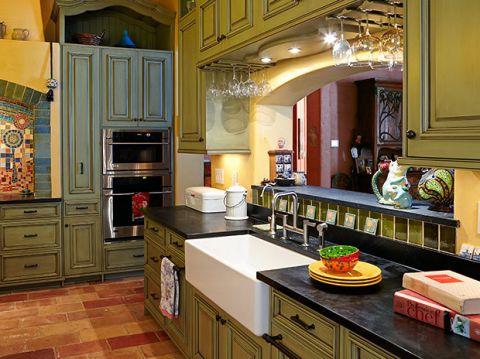 厨房蓝色橱柜混搭风格装修设计图片