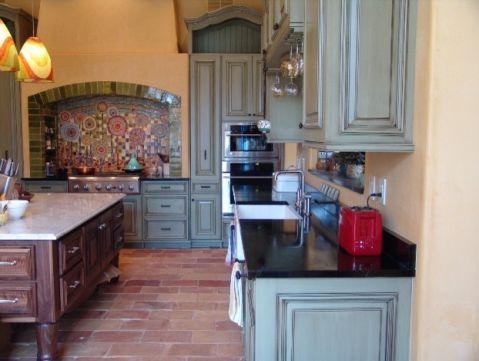 厨房红色地砖混搭风格装饰设计图片