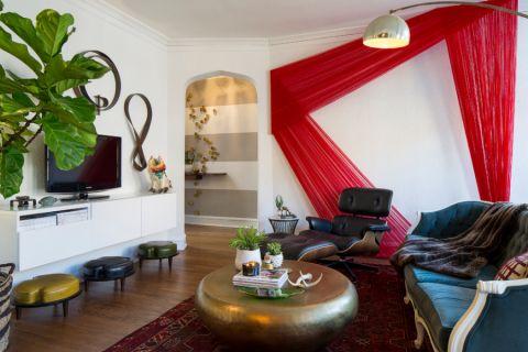 客厅白色背景墙混搭风格装潢效果图