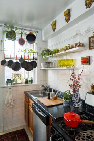 厨房白色背景墙混搭风格装修图片