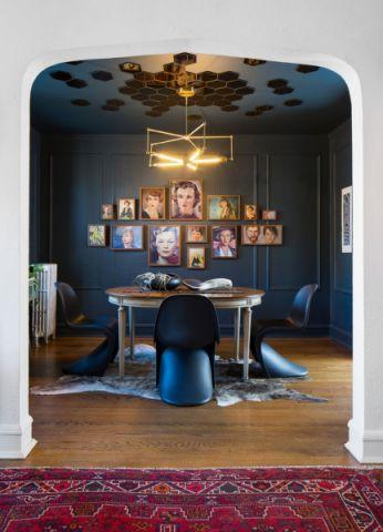 餐厅灰色背景墙混搭风格装饰设计图片