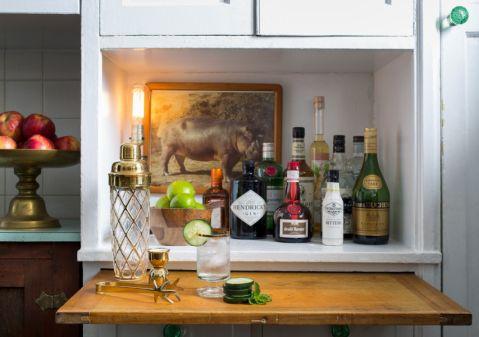 厨房黄色吧台混搭风格装潢设计图片