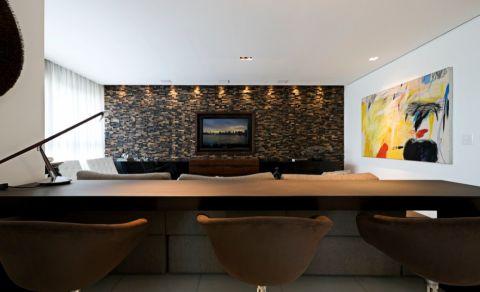 客厅黄色吧台现代风格装潢效果图