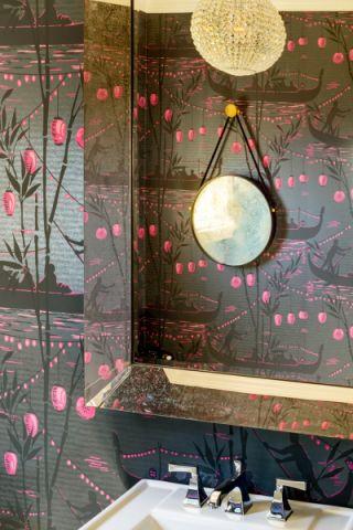 卫生间背景墙美式风格装潢图片