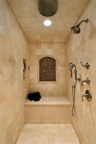 浴室背景墙美式风格装潢图片