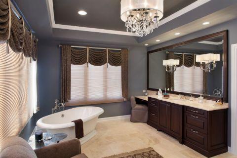 浴室窗帘美式风格装饰设计图片