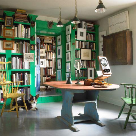 书房博古架混搭风格装修图片