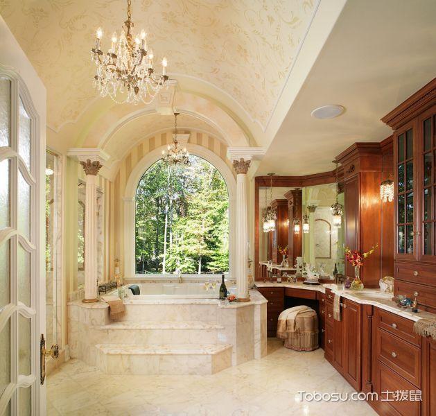 浴室白色灯具美式风格装修图片