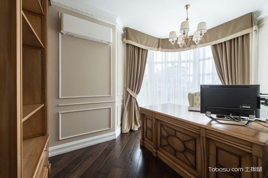 书房咖啡色地板砖美式风格装潢图片