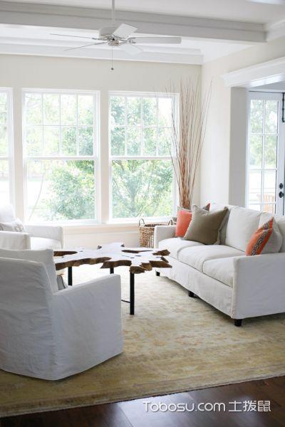 客厅飘窗美式风格装潢图片