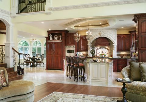 厨房美式风格效果图大全2017图片_土拨鼠潮流舒适厨房美式风格装修设计效果图欣赏