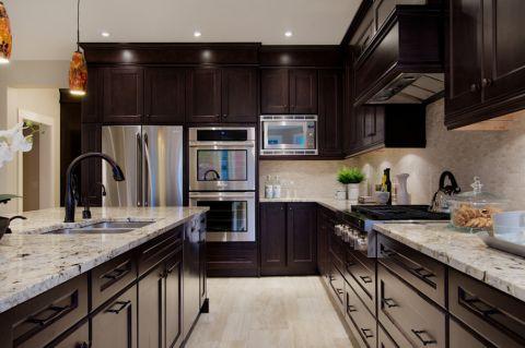 厨房美式风格效果图大全2017图片_土拨鼠优雅淡雅厨房美式风格装修设计效果图欣赏
