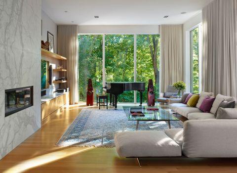 客厅现代风格效果图大全2017图片_土拨鼠优雅质感客厅现代风格装修设计效果图欣赏