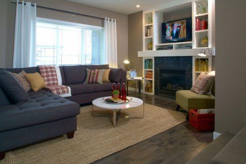客厅地板砖混搭风格装饰图片