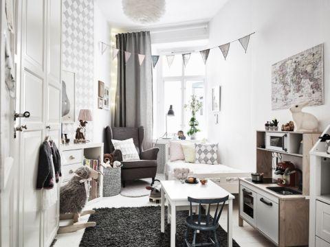 儿童房窗帘北欧风格装饰设计图片