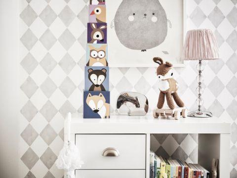 儿童房背景墙北欧风格装潢设计图片