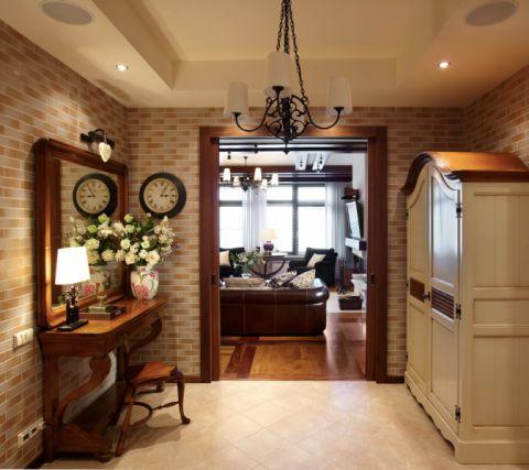 玄关背景墙美式风格装潢图片