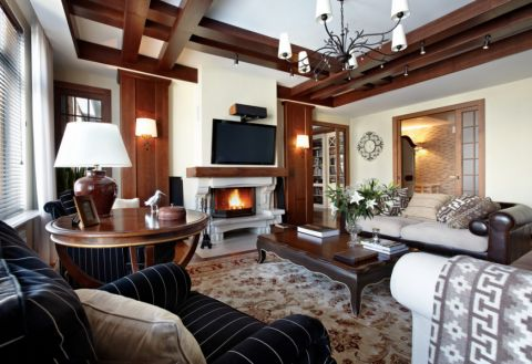 客厅灯具美式风格装潢效果图