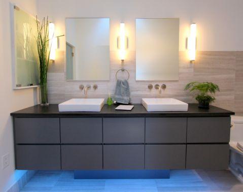浴室现代风格效果图大全2017图片_土拨鼠清爽唯美浴室现代风格装修设计效果图欣赏