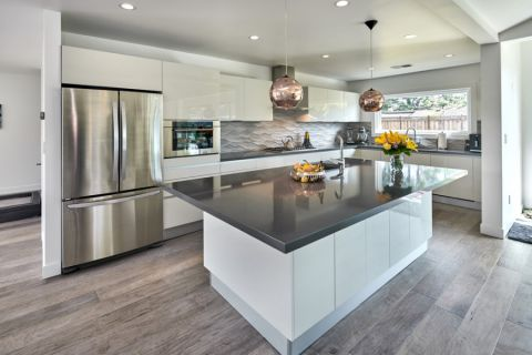 厨房现代风格效果图大全2017图片_土拨鼠现代舒适厨房现代风格装修设计效果图欣赏