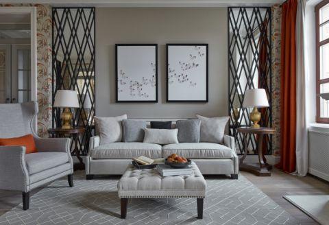 客厅美式风格效果图大全2017图片_土拨鼠温馨富丽客厅美式风格装修设计效果图欣赏