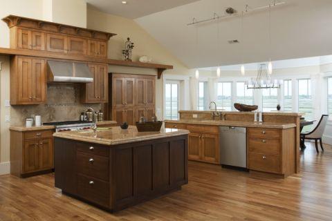 厨房美式风格效果图大全2017图片_土拨鼠温暖温馨厨房美式风格装修设计效果图欣赏