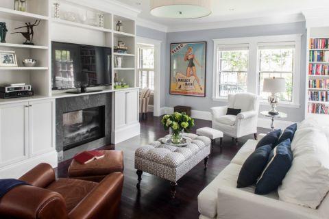 客厅美式风格效果图大全2017图片_土拨鼠精致迷人客厅美式风格装修设计效果图欣赏