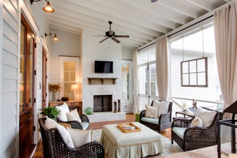 客厅吊顶美式装饰图片