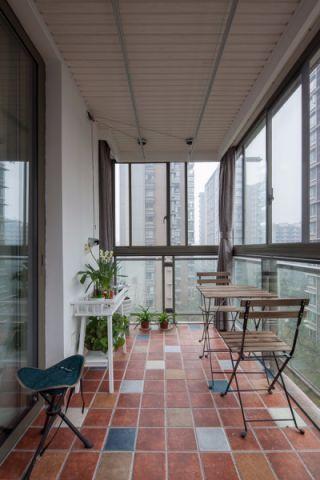 阳台地板砖美式风格装饰图片