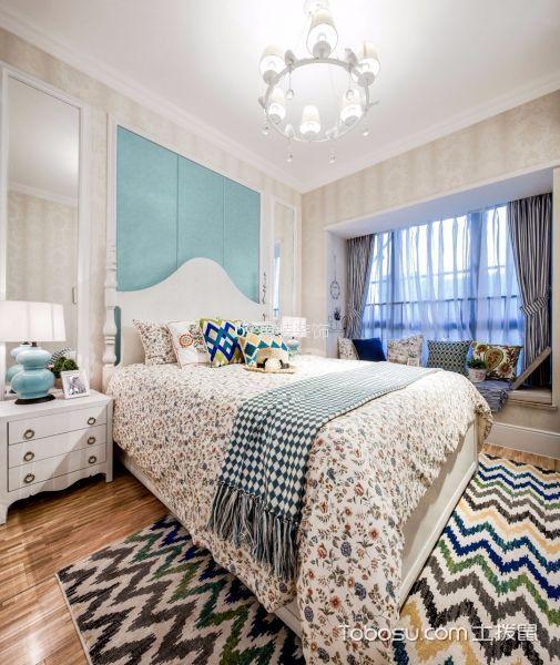 卧室蓝色窗帘田园风格装修图片