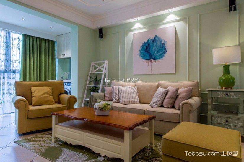客厅绿色背景墙田园风格装修效果图