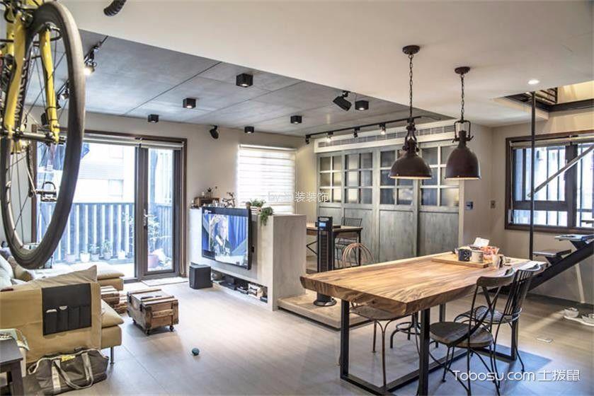 工业风格80平米二居室装修效果图