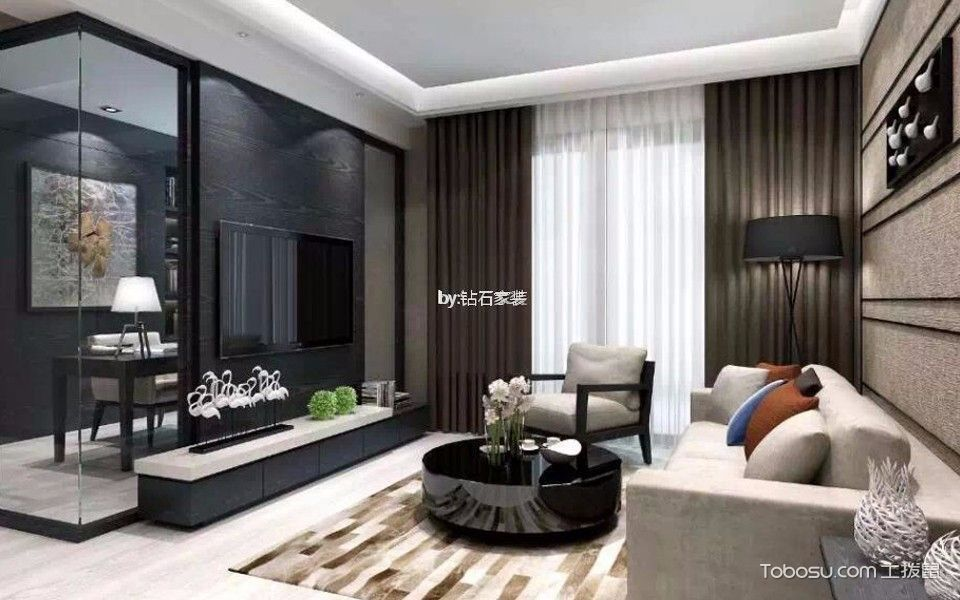 120平现代风格三居室装修效果图