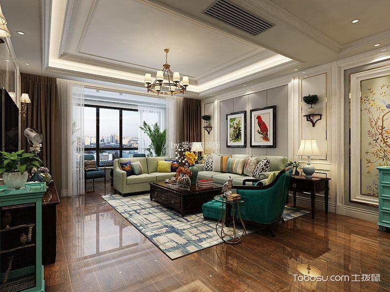 滨河城上城美式风格150平米四室两厅装修效果图