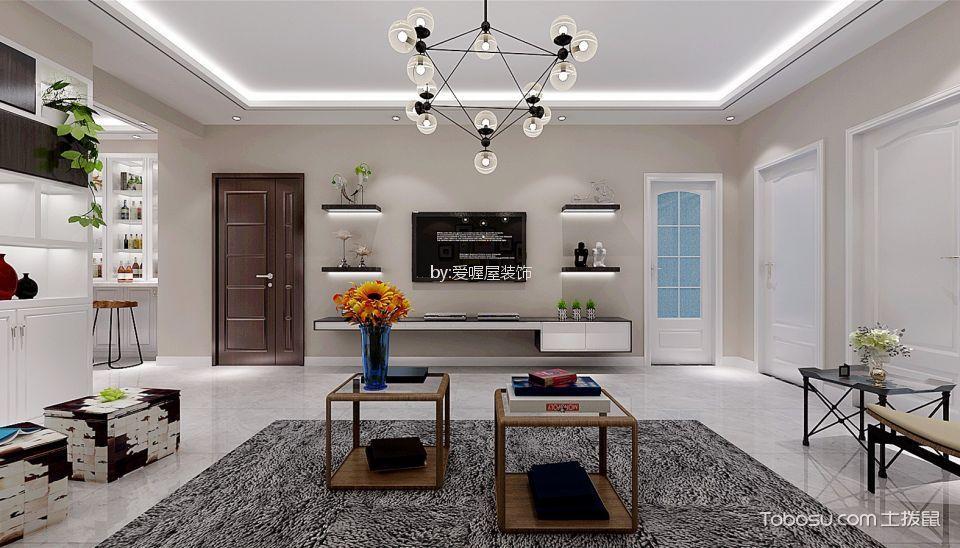 客厅白色背景墙现代简约风格装潢设计图片
