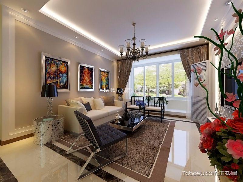 130平简约风格3室两厅一厨一卫装修效果图