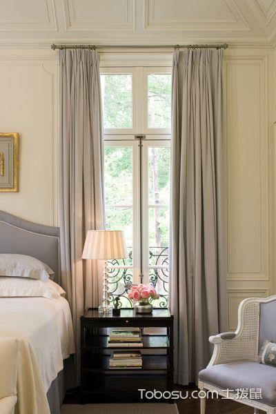 卧室灰色窗帘美式风格装潢设计图片