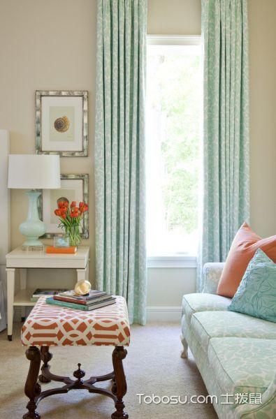 卧室绿色窗帘混搭风格装修效果图