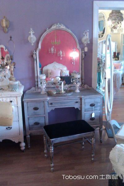 卧室灰色梳妆台混搭风格装修设计图片