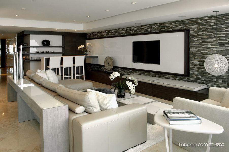 客厅黑色电视柜现代风格装潢设计图片