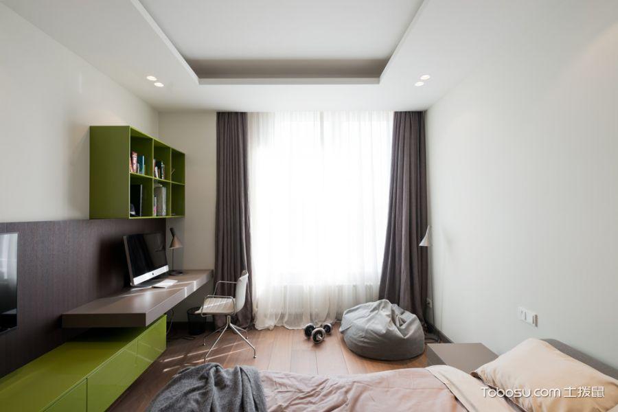 卧室咖啡色窗帘现代风格装潢设计图片