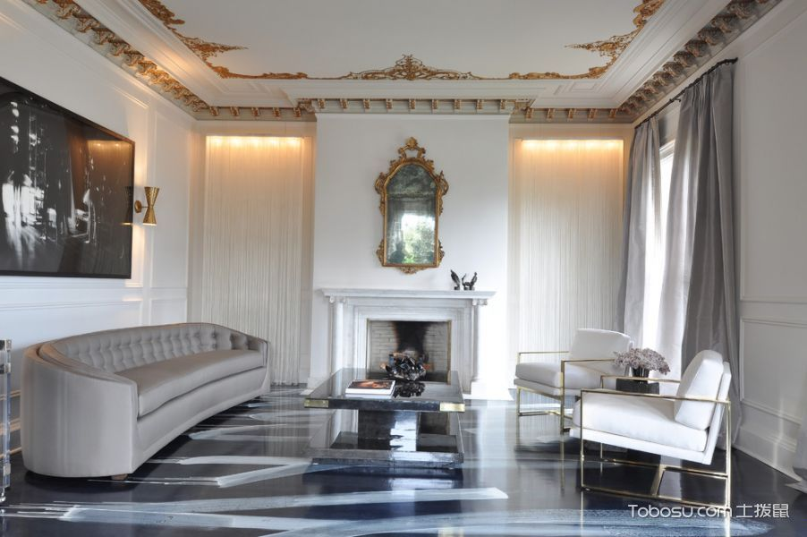 客厅灰色窗帘混搭风格装潢效果图